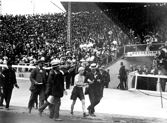 London Olympics, 1908: Dorando Pietri, inside the Olympic Stadium