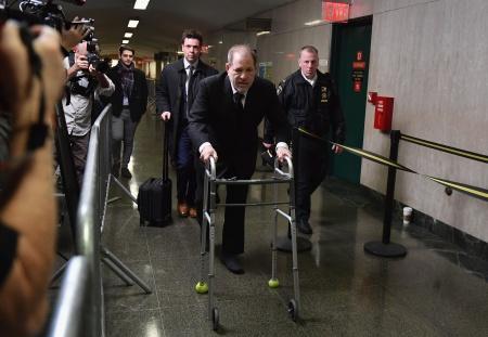 Harvey Weinstein enters Manhattan Criminal Court.