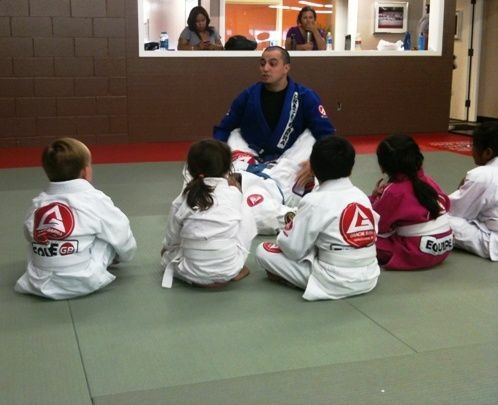Instructor Justice Levinthol with kids at the Gracie Barra jiu-jitsu center in East Pasadena.