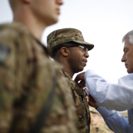 U.S. Defense Secretary Chuck Hagel flies aboard a military helicopter from Kabul to Bagram Air Field