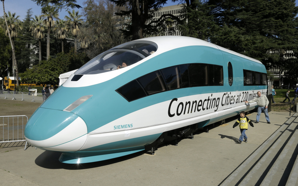 A full-scale mock-up of a high-speed train is displayed at the Capitol in Sacramento, Calif., on Feb. 26, 2015.