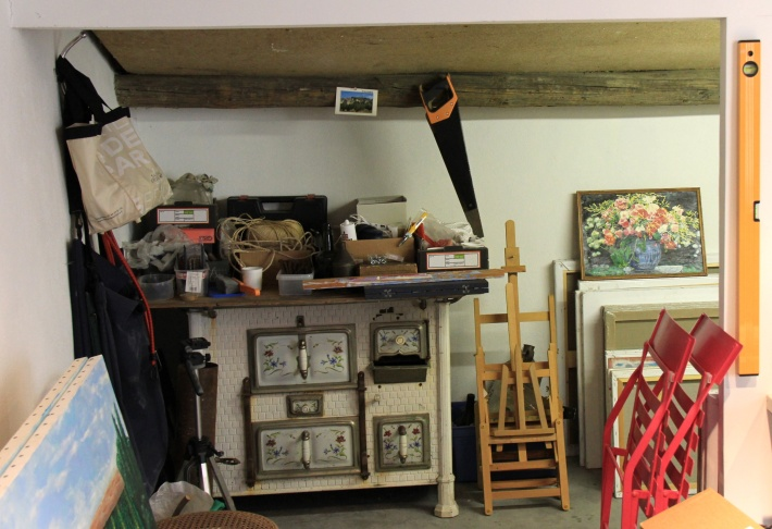 The storage room in Frank Romero's atelier in the South of France. The stove dates to the 1880s.