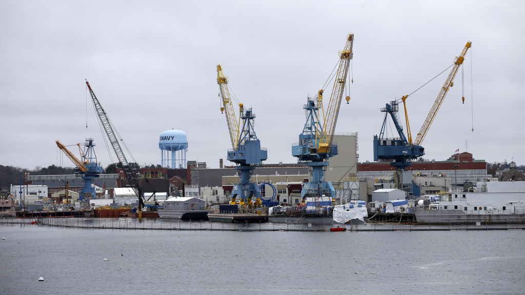 Portsmouth Naval Shipyard in Kittery, Maine, seen last year, is one of the shipyards getting an influx of reservists to handle a work backlog caused by the COVID-19 pandemic.