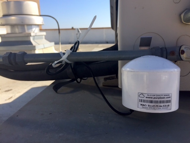 The PurpleAir monitor on the roof of the KPCC studio in Pasadena.