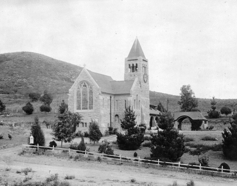 The exterior of Church of the Angels in Pasadena, circa late 1800s or early 1900s.