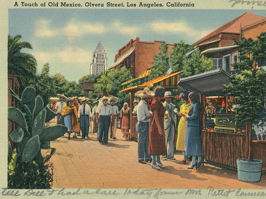 Olvera Street, a historic Mexican marketplace in downtown Los Angeles. 1935.