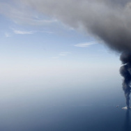 The Deepwater Horizon oil rig is seen burning in April 2010. A second phase of the BP trial started this week looks at just how much oil spilled into the Gulf of Mexico.