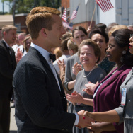 "Characters Katherine G. Johnson (Taraji P. Henson), Dorothy Vaughan (Octavia Spencer) and Mary Jackson (Janelle Monáe) meet John Glenn (Glen Powell) in the movie ""Hidden Figures."""