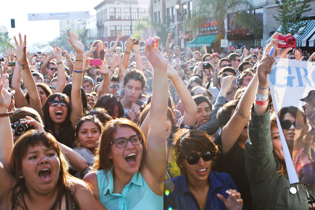 Fans cheer as Grouplove begin to perform one of their songs during Make Music Pasadena 2012.