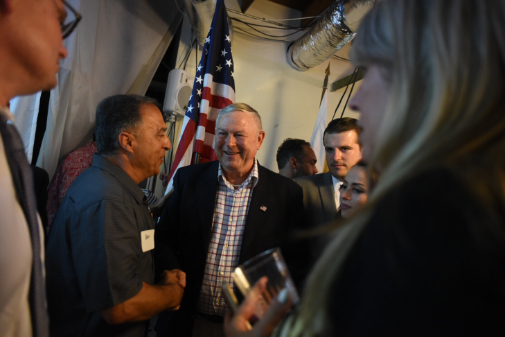 U.S. Rep. Dana Rohrabacher shakes hands with supporters at his election night party in Costa Mesa, Calif. on Tuesday, June 5, 2018.