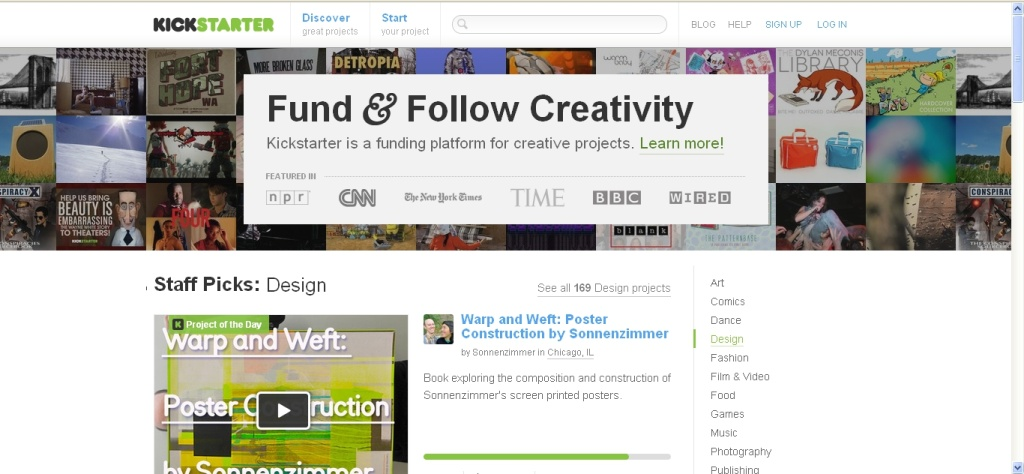 A screenshot taken June 18, 2012 shows the Kickstarter home page.