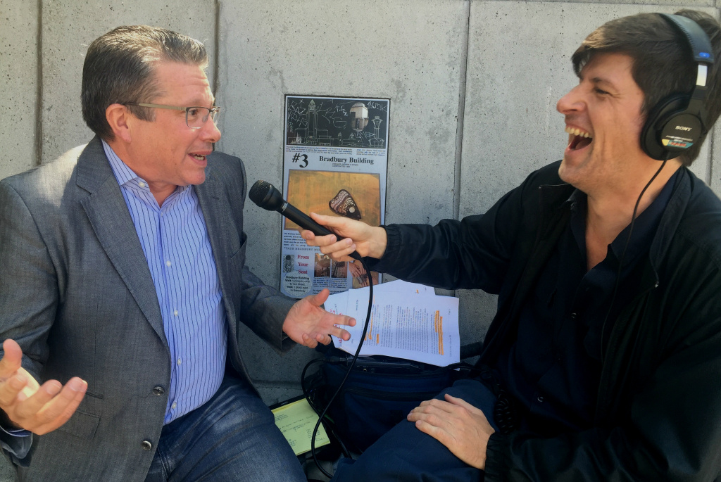 Reporter Jesse Katz and KPCC's John Rabe laugh about Jesse embedding himself as a counterman at Wexler's Deli at LA's Grand Central Market