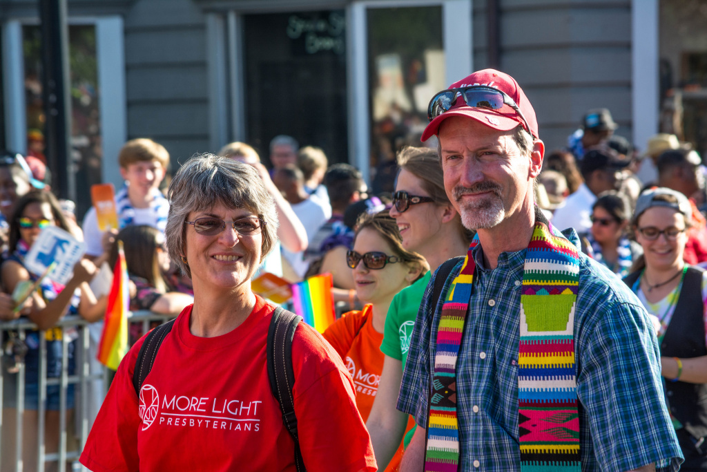 Members of the More Light Presbyterians march in a 2014 Pride parade in Washington DC.