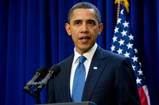 US President Barack Obama speaks about a two-year proposal to freeze most government salaries in a move to trim the deficit in the Eisenhower Executive Office Buliding adjacent to the White House in Washington on November 29, 2010.