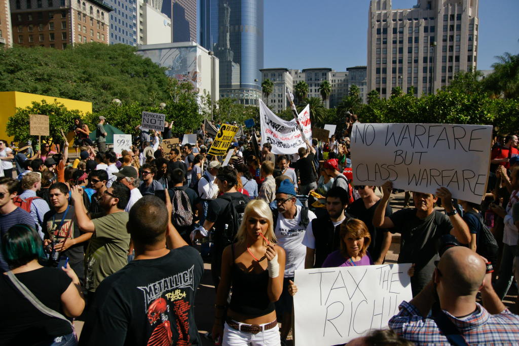 Demonstrators gather in Downtown Los Angeles for the