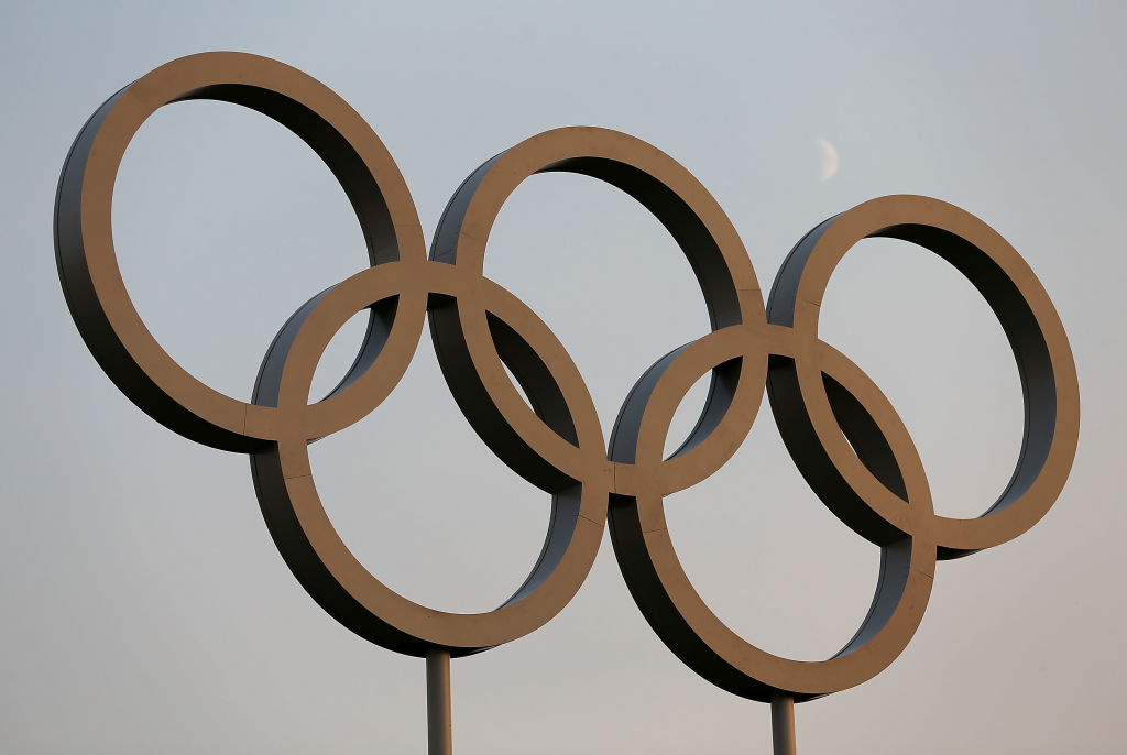 View of Olympic Rings in the Olympic Park in London, England.  (Photo by Christian Petersen/Getty Images)