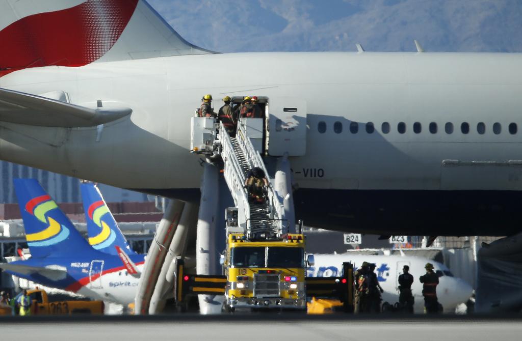 Video: British Airways flight catches fire on Las Vegas