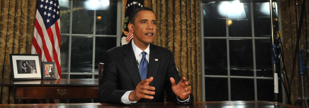 US President Barack Obama is photographed in the Oval Office of the White House in Washington, DC, on Tuesday, June 15, 2010, after delivering his speech regarding the BP oil spill disaster.