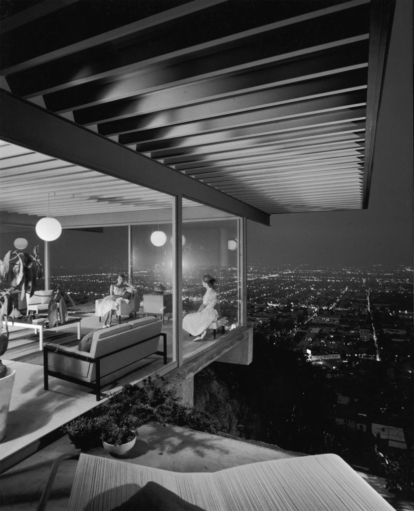 Jewish photographer Julius Shulman documented the work of the numerous modernist architects inspired by Austrian Jewish immigrant and Angeleno Richard Neutra to realize their designs in Los Angeles. Shulman's photograph of a Pierre Koennig–designed home, with two young women seated in the glass-encased living room, epitomized the modern metropolis.