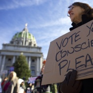 Donald Trump protesters demonstrate outside the Pennsylvania Capitol Building before electors arrive to cast their votes from the election at December 19, 2016 in Harrisburg, Pennsylvania.