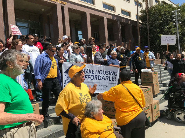 Rent control proponents from throughout Southern California gathered in downtown Los Angeles Thursday, April 12.