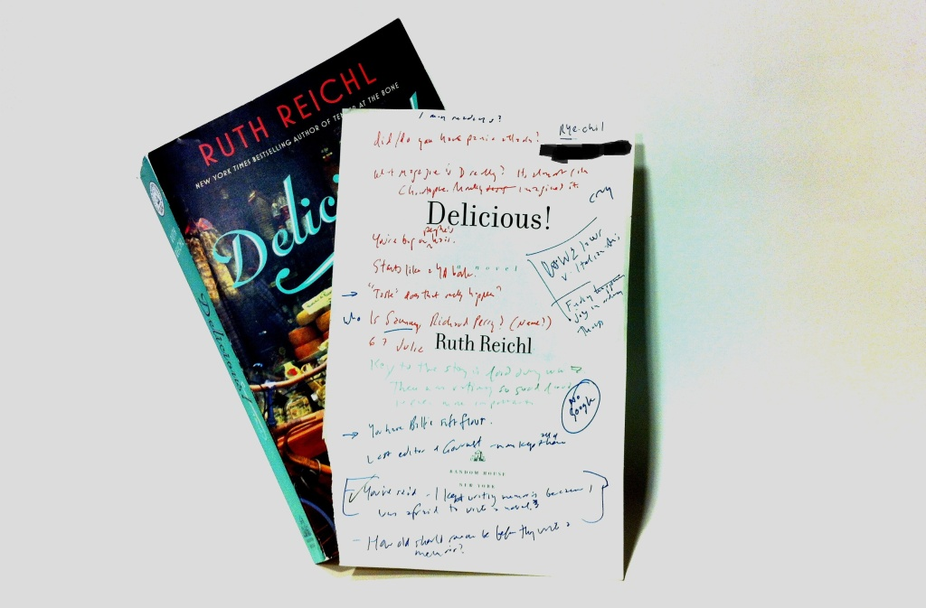 Ruth Reichl's debut novel, Delicious!, and Off-Ramp host John Rabe's interview notes.
