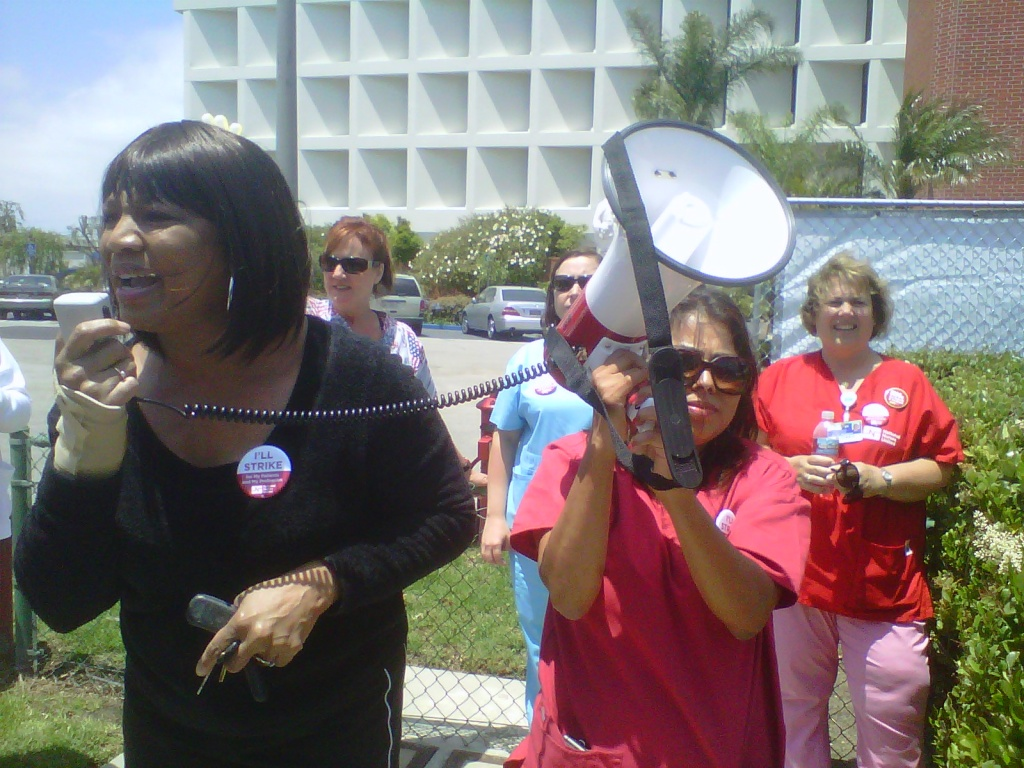 Denise Wise-West, Registered Nurse Case Manager, helps lead nurses' rally at Providence Little Company of Mary Medical Center San Pedro.