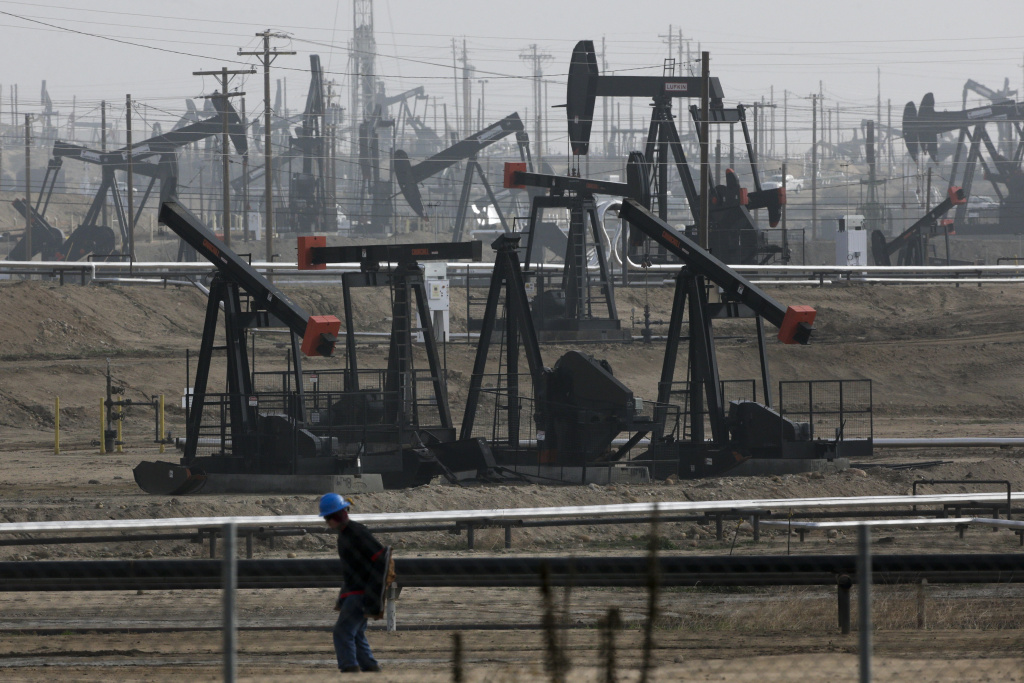This Jan. 16, 2015, file photo shows pumpjacks operating at the Kern River Oil Field in Bakersfield, Calif. California is proposing broad changes in the way it protects underground water sources from oil and gas operations, after finding 2,500 instances in which the state authorized oil and gas operations in protected water aquifers. California lawmakers are scheduled to discuss the matter in a hearing Tuesday, March 10, 2015.