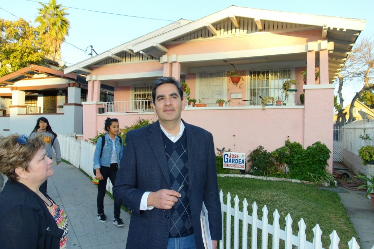 Jose Gardea canvasses for votes in the Pico-Union area of the Los Angeles City Council's First District.