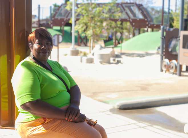 Lottie Cleveland at the newly completed Serenity Park in Watts on Monday, April 6, 2015.