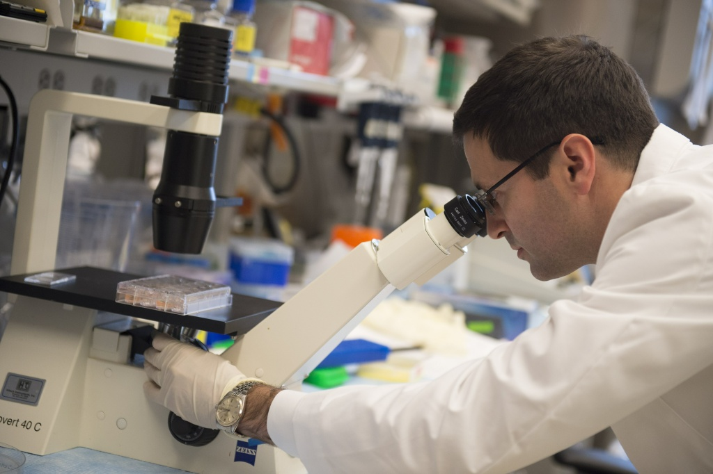 Dr. Christian Hinrichs, assistant clinical investigator at the Center for Cancer Research at the National Cancer Institute, works in his lab where he helped develop advanced, cutting-edge procedures to cure 2 women of a rare form of cervical cancer, at the National Institutes of Health (NIH) in Bethesda, Maryland, May 29, 2014.