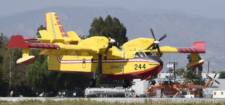 August 6, 2016: One of two Super Scoopers arrive at the Van Nuys airport.