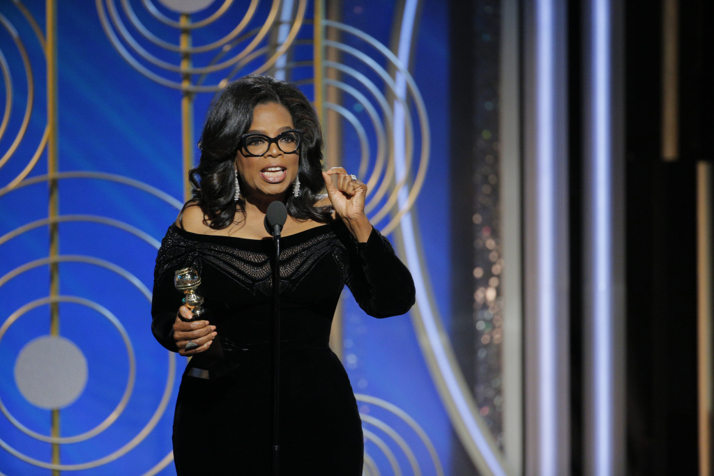 In this handout photo provided by NBCUniversal, Oprah Winfrey accepts the 2018 Cecil B. DeMille Award  speaks onstage during the 75th Annual Golden Globe Awards at The Beverly Hilton Hotel on January 7, 2018 in Beverly Hills, California.
