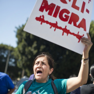 Adelina Nicholls of the Georgia Latino Alliance for Human Rights travelled from Georgia to take part in a march in LA on Aug. 27 supporting immigrant worker protections in any administrative relief plan that President Obama announces.
