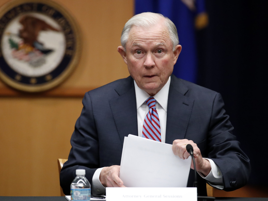 AG Jeff Sessions at the Department of Justice in Washington.