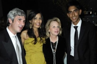 Jeff Sanderson, Freida Pinto, Ronni Chasen and Dev Patel attend the Fox Searchlight Pictures Golden Globe Party at Craft on January 11, 2009 in Los Angeles, California.