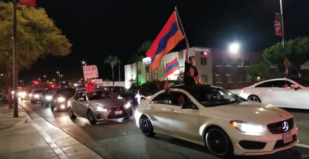 On Sunday, April 22, Glendale residents protested last month's Armenian election by taking to the streets and honking their horns.