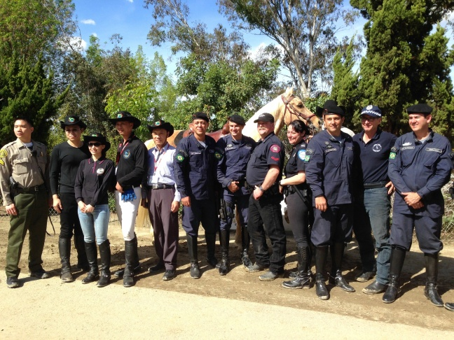The international contingent--from Brazil, Canada, Australia, and Taiwan--of officers at a mounted patrol conference held in Los Angeles County in February 2014.