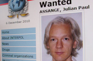 Interpol's website shows an appeal for the arrest of WikiLeaks founder Julian Assange, whose website has spearheaded the release of thousands of sensitive U.S. diplomatic cables.