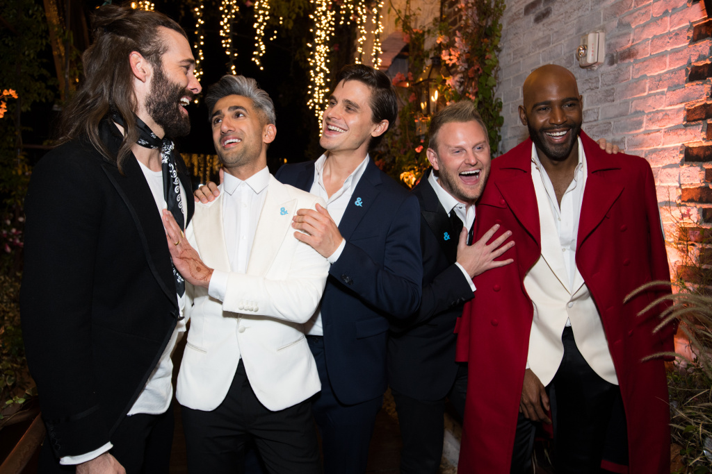 (L-R) Jonathan Van Ness, Tan France, Antoni Porowski, Bobby Berk, and Karamo Brown attend the after party for the premiere of Netflix's