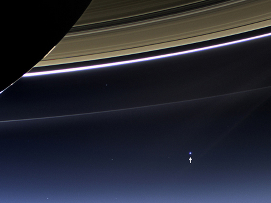 The Day the Earth Smiled: Sneak Preview - In this rare image taken on July 19, 2013, the wide-angle camera on NASA's Cassini spacecraft has captured Saturn's rings and our planet Earth and its moon in the same frame.