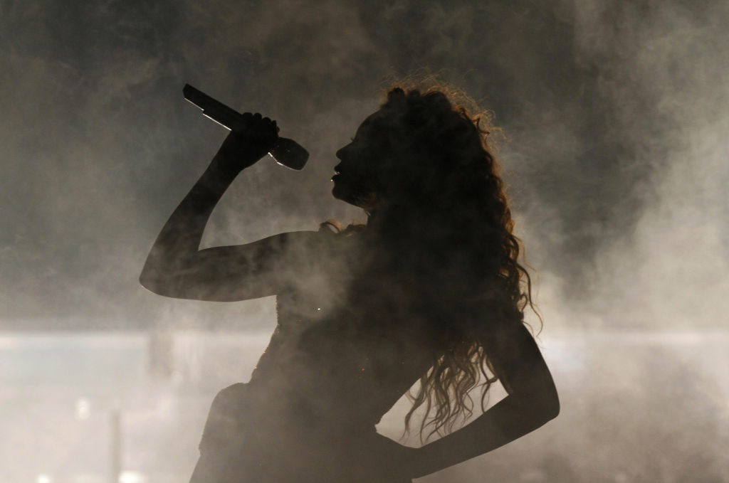 Beyonce performs in concert in Sao Paulo.