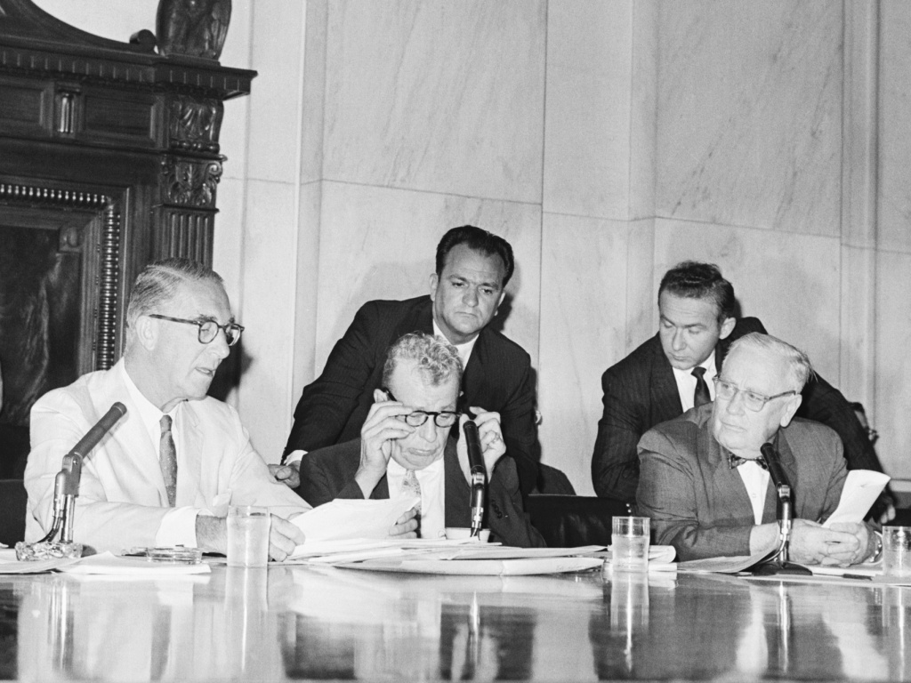 Sen. Estes Kefauver, D-Tenn., (left) and Sen. Everett Dirksen, R-Ill., (second from left) clashed at the reopening of a Senate drug investigation in 1960 over whether witnesses could be forced to reveal