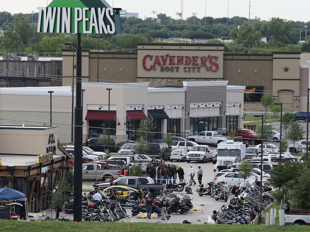 Prosecutors in McLennan County, Texas, said that all remaining charges related to the deadly melee between rival bike gangs outside a Waco restaurant in May 2015 would be dropped. The aftermath of the shooting is seen here.