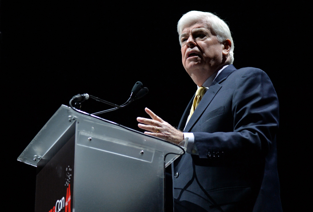 Chris Dodd, Chairman & CEO of the Motion Picture Association of America gives an annual State of the Industry address at CinemaCon, the official convention of the National Association of Theatre Owners. (2014 file photo.)