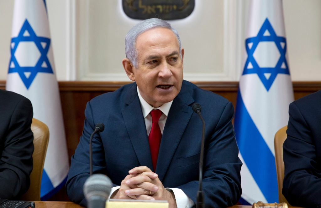Israeli Prime Minister Benjamin Netanyahu attends the weekly cabinet meeting at the Prime Minister's office in Jerusalem on February 17, 2019