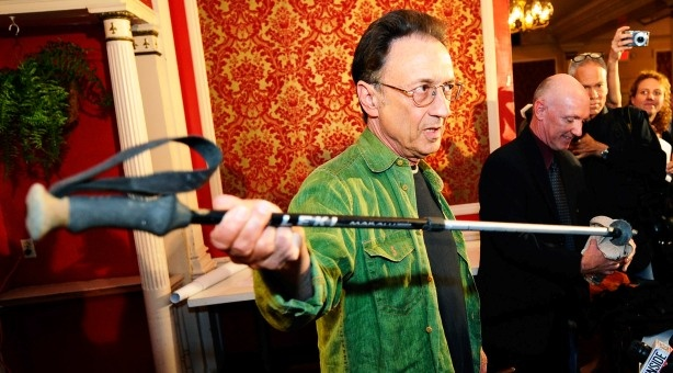 10/5/2010: Ed Rosenthal, a 64-year-old real estate broker, shows his hiking stick as he explains his ordeal during a news conference at Clifton's Cafeteria in Los Angeles. Rosenthal, who helped broker the sale of the eatery two weeks ago, embarked on the hike not long after deal closed and was rescued after spending six days lost in the Joshua Tree National Park.