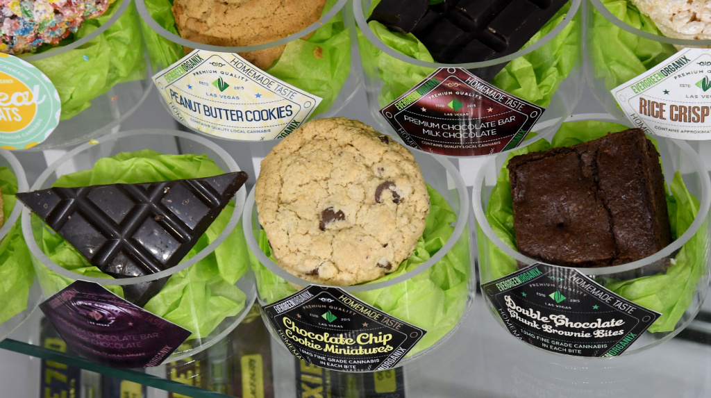 Edible cannabis products are displayed at Essence Vegas Cannabis Dispensary before the midnight start of recreational marijuana sales on June 30, 2017 in Las Vegas, Nevada.