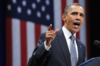 President Barack Obama speaks April 20, 2011 during a DNC fundraiser at Nob Hill Masonic Center in San Francisco.