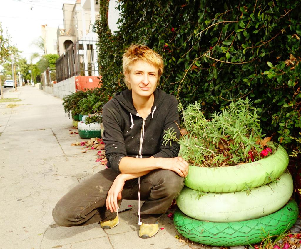 Anne Hars in her garden in Echo Park.
